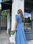 Макси платье в горошек с разрезом на ноге, с коротким присборенным рукавом (р. 42-46) 83032516, фото 4
