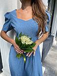Макси платье в горошек с разрезом на ноге, с коротким присборенным рукавом (р. 42-46) 83032516, фото 5