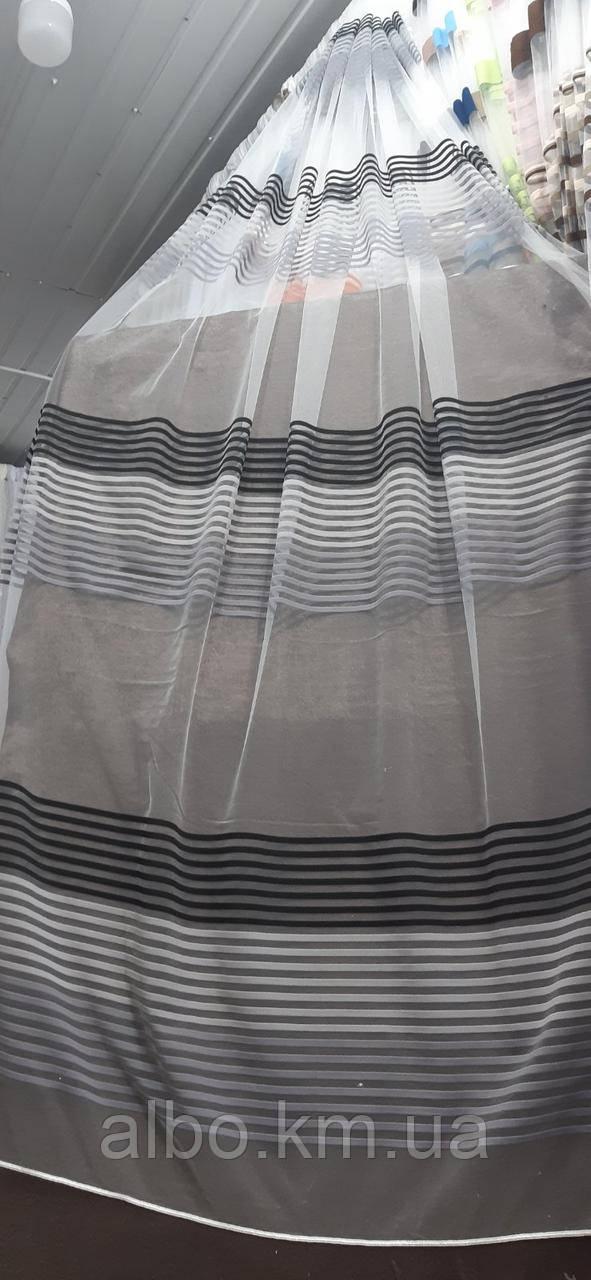 Качественный белый тюль из фатина с полосками графит, белый и серый на метраж, высота 2,8 м