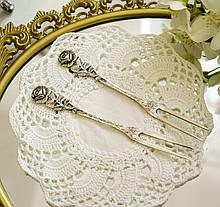 Серебряные сервировочные вилки для лимона, Хильдесхаймская Роза, серебро 800 и 835 пробы, Германия