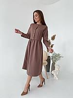 Платье женское миди со свободной юбкой, на каждый день, весна-осень 2021, разные цвета р.42-44,46-48 Код 1032L