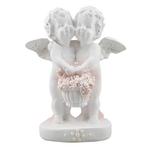 Статуетка Decoline Ангелики з кошиком квітів з перлинками,  (гіпс) AN0608-2(G)
