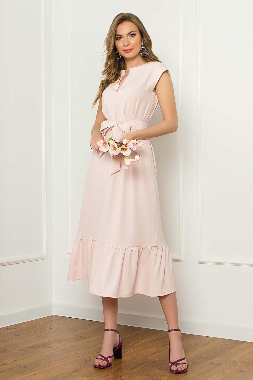 Платье миди свободного силуэта без рукавов, V-образный вырез, с поясом. Пудрового цвета