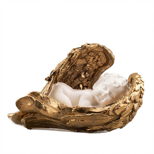 Статуэтка Decoline Ангел на крыле (рис.) Бело-золотой, (гипс) AN0015-3 (G)