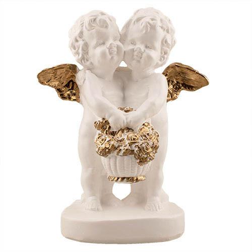 Статуетка Decoline Ангелики з кошиком квітів біло-золоті,  (гіпс) AN0608-3(G)