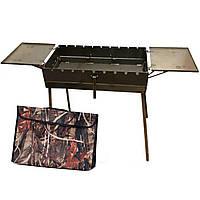 Мангал переносной -чемодан 3 мм на 9 шмп. со столиками 570х300х150мм + Чехол(Складной, раскладной Барбекю), фото 1