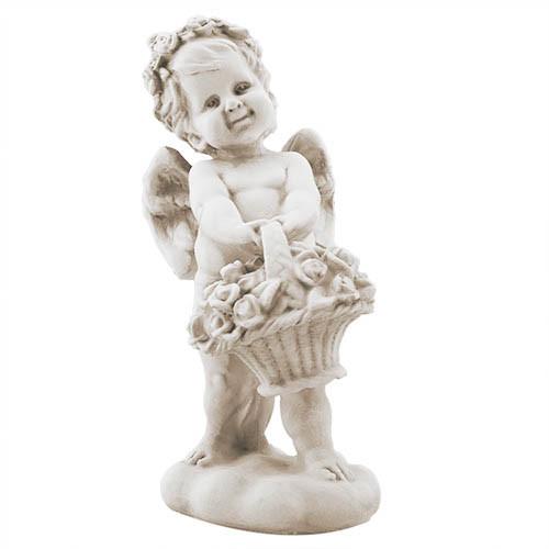 Статуетка Decoline Ангелик з кошиком 2 пісочний,  (гіпс) AN0727-7(G)