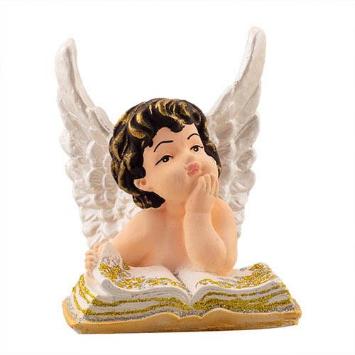 Статуэтка Decoline Ангелочек на книге цветной, (гипс) AN0725-4 (G)