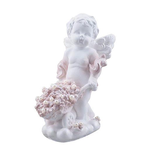 Статуэтка Decoline Ангелочек с тачкой с жемчужинами, (гипс) AN0724-2 (G)