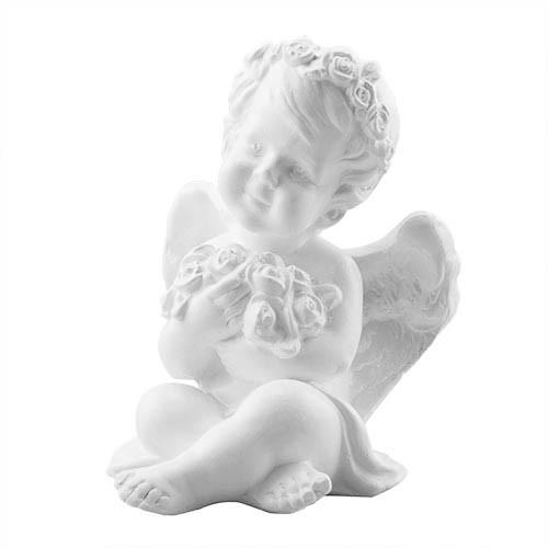 Статуэтка Decoline Ангелочек с цветами белый, (гипс) AN0607 (G)