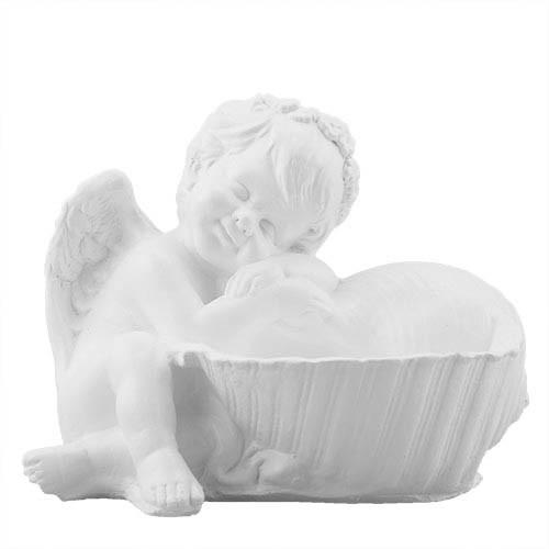 Статуэтка Decoline Ангелочек с ракушкой белый, (гипс) AN0708 (G)