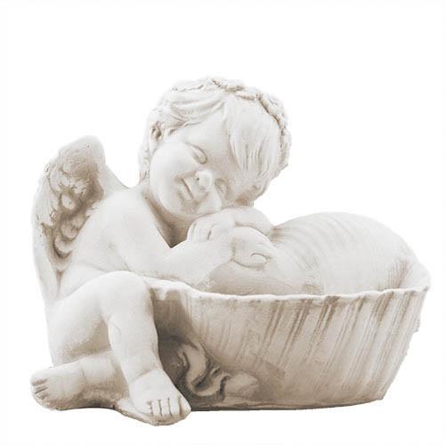 Статуэтка Decoline Ангелочек с ракушкой песочные, (гипс) AN0708-7 (G)