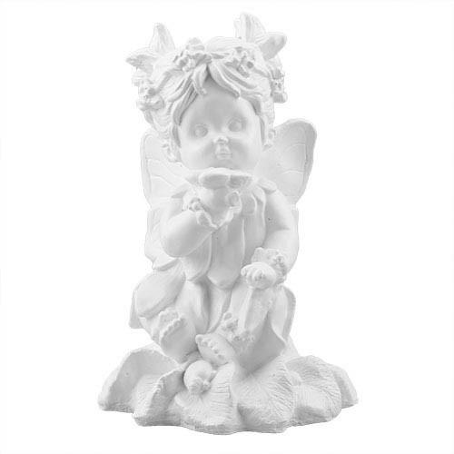 Статуетка Decoline Ангел дівчинка з квіткою білі,  (гіпс) AN0731(G)