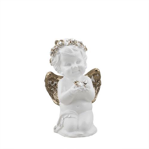 Статуэтка Decoline Ангелочек с цветком бело-золотой, (гипс) AN0605-3 (G)