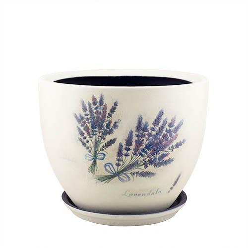 Горщик для квітів керамічний Decoline Модена №1, 8,3 л.  (декупаж - прованс) V2022-7