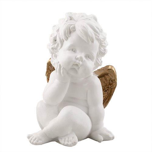 Статуэтка Decoline Поцелуй ангела мальчик бело-золотой, (гипс) AN0011-3 (G)