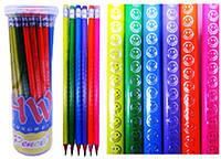 """Олівець HW-027-B """"Неон Смайл"""" чорнографітний трикутний, НВ з гумкою в банку уп48"""