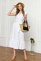 Платье миди свободного силуэта без рукавов, V-образный вырез, с поясом. Белого цвета, фото 1