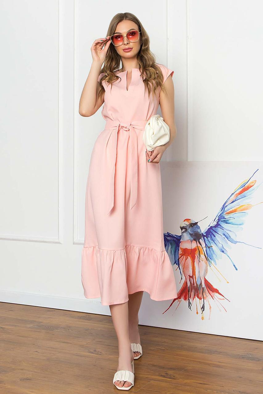 Платье миди свободного силуэта без рукавов, V-образный вырез, с поясом. Персикового цвета