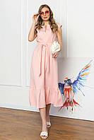 Платье миди свободного силуэта без рукавов, V-образный вырез, с поясом. Персикового цвета, фото 1