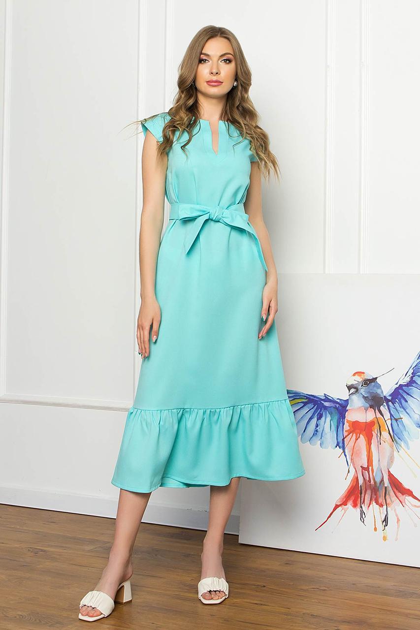 Платье миди свободного силуэта без рукавов, V-образный вырез, с поясом. Ментолового цвета