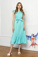 Сукня міді вільного силуету без рукавів, V-подібний виріз, з поясом. Ментолового кольору, фото 1