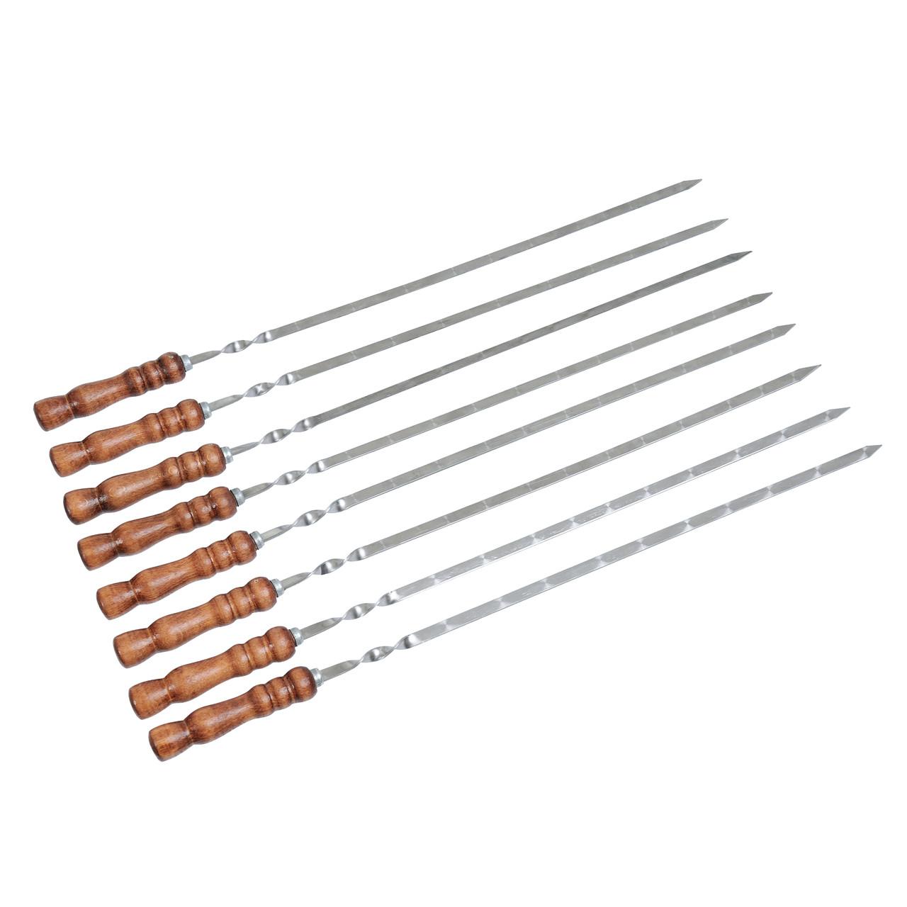 Набір шампурів з дерев'яною ручкою 8 шт Плоский Лак 700х13х3мм ( шампура з нержавіючої сталі для шашлику)