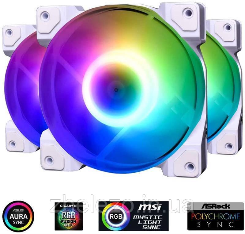 Вентилятор ID-Cooling DF-12025-ARGB-TRIO-SNOW (3pcs Pack), 120x120x25мм, 3-pin, 4-pin PWM, белый