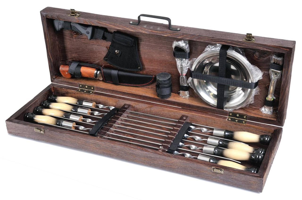 Подарочный набор Мясник шампуры с тарелками и приборами в деревянном чехле (шампура из нержавеющей стали)