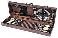 Подарочный набор Мясник шампуры с тарелками и приборами в деревянном чехле (шампура из нержавеющей стали), фото 1