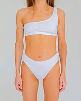 Топ на одне плече з іспанської жатки S верх купальника з сучасного матеріалу хіт літа 2021 колір white, фото 2
