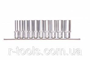 Набор удлиненных торцевых головок 3/8, шестигранные, CrV, 10 шт., 8-19 мм Stels 13604