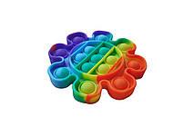 Антистресс игрушка Pop It силиконовый поп ит радужный фиджет для рук пупырка, круг, фото 3