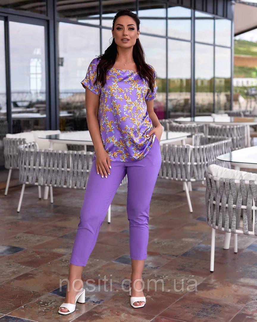 Женский летний костюм брюки и блуза шёлк батальный размер