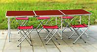 Раскладной удобный стол 60*180 см для пикника и 4 стула ( + 2 в ПОДАРОК), темное дерево