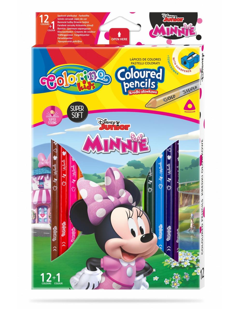 """Карандаши цветные трехгранные с точилкой,12 цветов,13 штук """"MINNIE"""", тм Colorino"""
