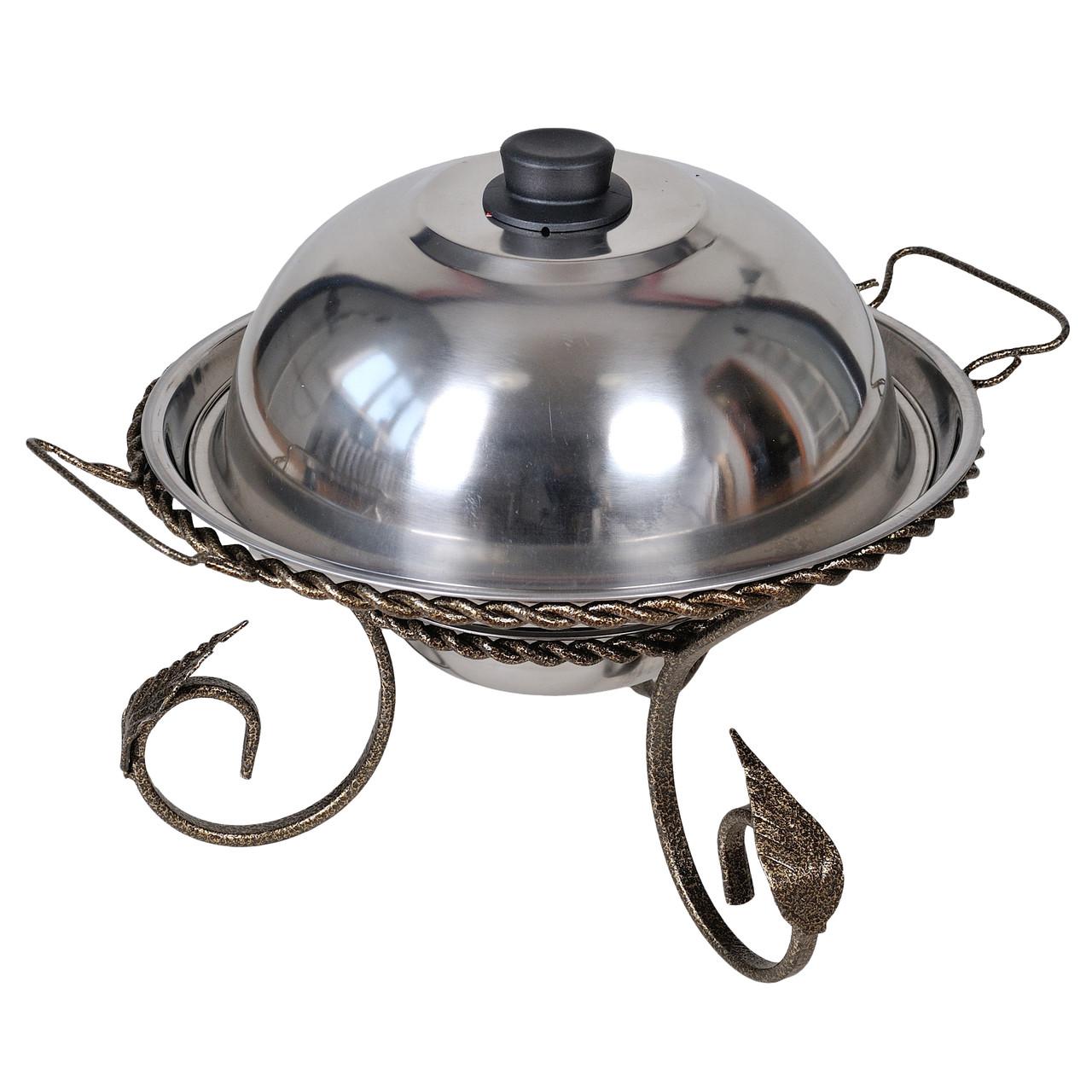 Підставка для підігріву м'яса шашлику Садж з кованими елементами 360 мм + кришка (з нержавіючої сталі)