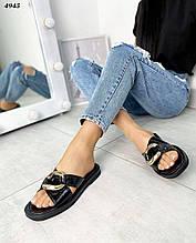Модные,кожаные женские шлепанцы Сhain, черные