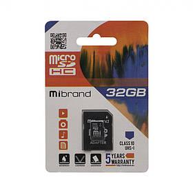 Карта Памяти Mibrand MicroSDHC 32gb 10 Class & Adapter Цвет Чёрный