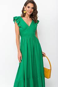 Зеленый яркий сарафан изо льна с открытой спиной и рюшами 42-48