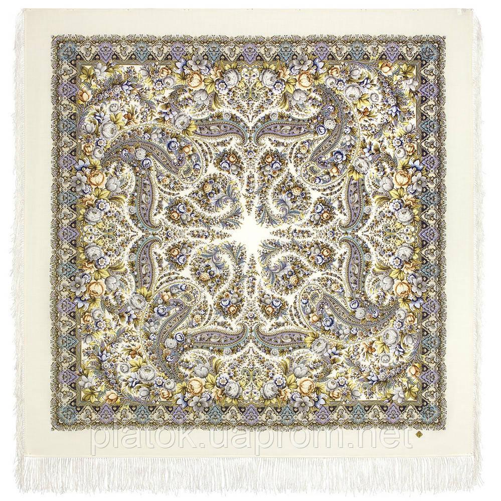 Ранок туманне 1899-3, павлопосадский вовняну хустку з шовковою бахромою
