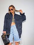 Джинсовая куртка женская оверсайз трендовая в черном и голубом цвете (р. 42-48) 301630, фото 3