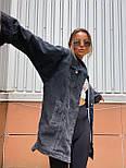 Джинсовая куртка женская оверсайз трендовая в черном и голубом цвете (р. 42-48) 301630, фото 4