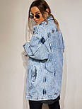Джинсовая куртка женская оверсайз трендовая в черном и голубом цвете (р. 42-48) 301630, фото 7