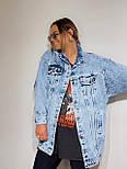 Джинсовая куртка женская оверсайз трендовая в черном и голубом цвете (р. 42-48) 301630, фото 9