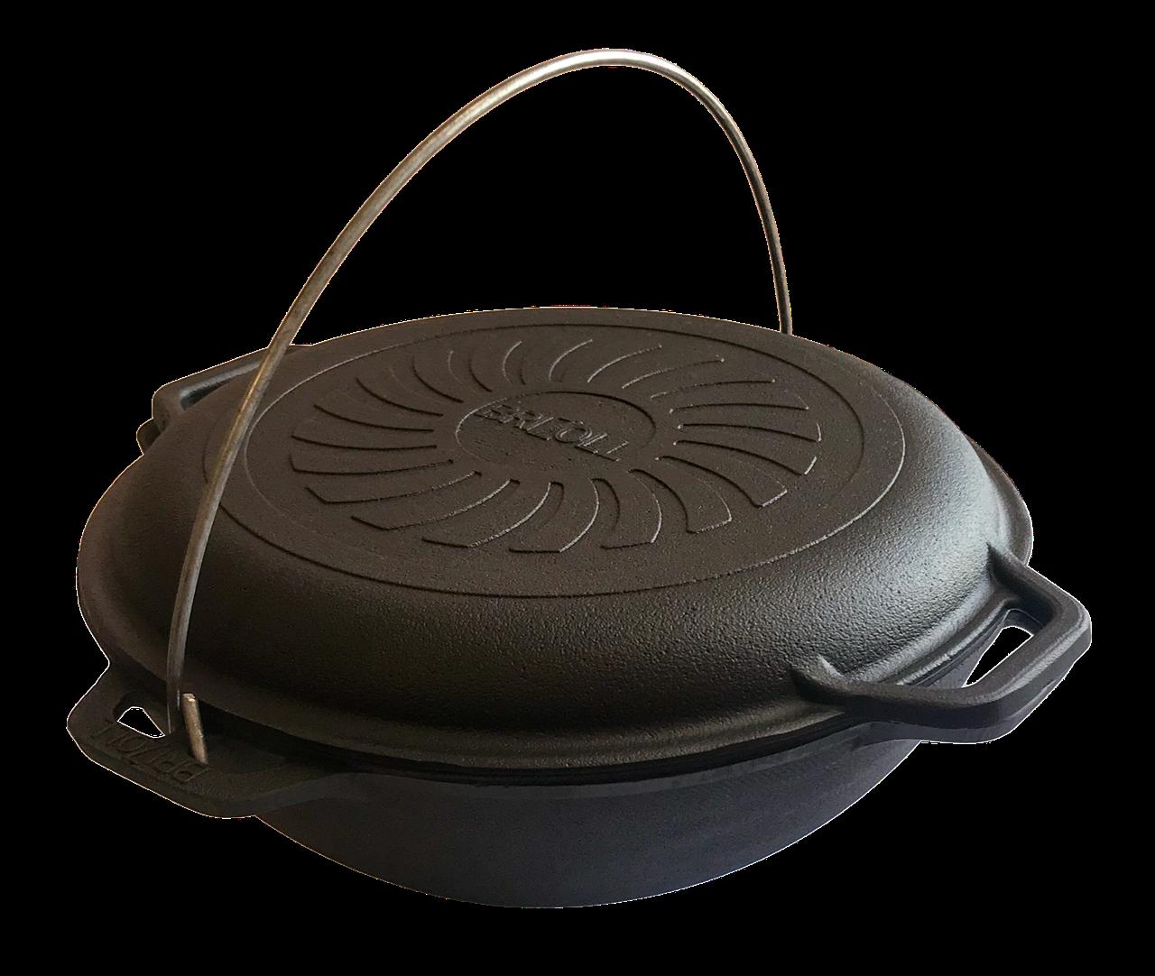 Казан чавунний азіатський Brizoll 4л з кришкою-сковородою Бризол (Казанок для юшки і плову на вогнищі плиті)