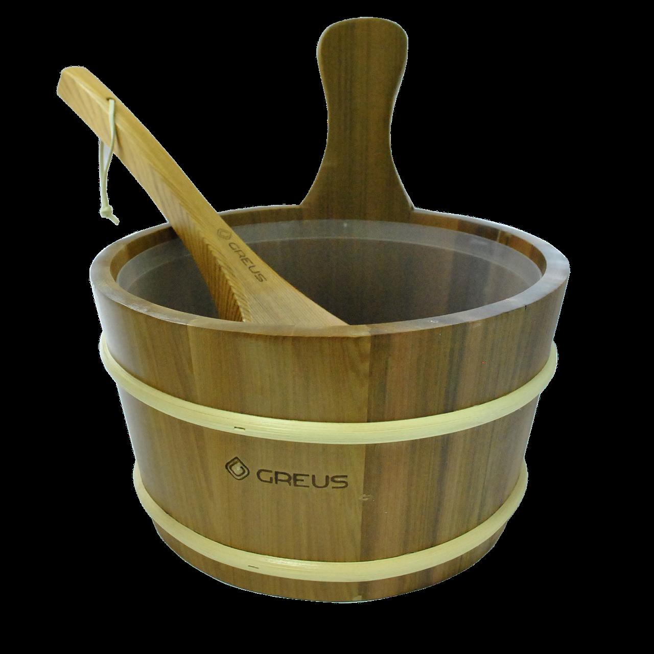 Набір GREUS кедр (шайка 4 л + черпак) з пластиковою вставкою для лазні та сауни