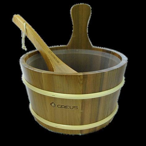 Набір GREUS кедр (шайка 4 л + черпак) з пластиковою вставкою для лазні та сауни, фото 2