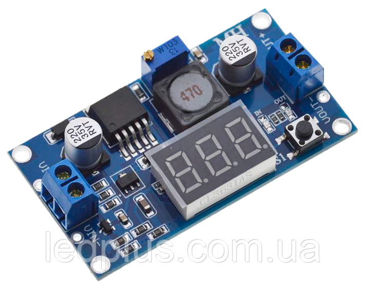 Понижающий стабилизатор напряжения  LM2596 регулируемый с вольтметром