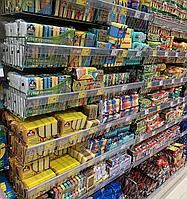 Торговый стеллаж WIKO с сетчатыми полками корзинами в магазин, легкое б/у, фото 1